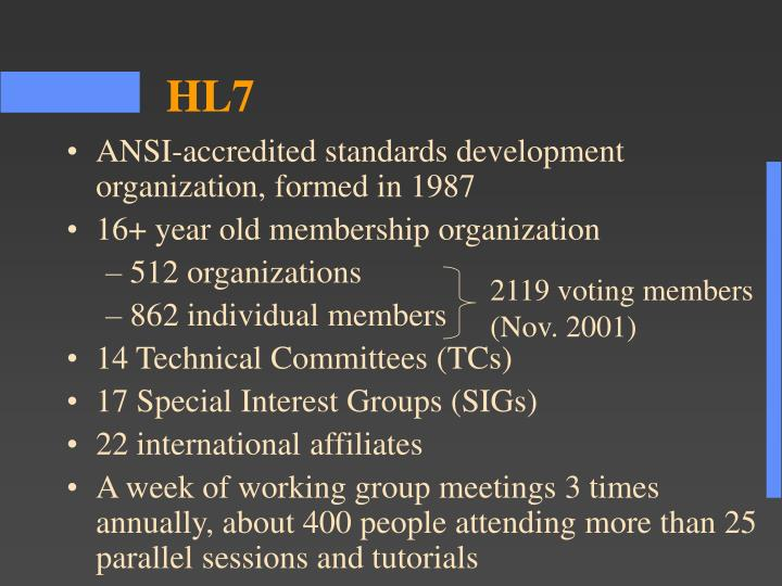 ANSI-accredited standards development organization, formed in 1987