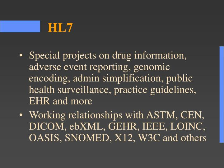 Special projects on drug information, adverse event reporting, genomic encoding, admin simplification, public health surveillance, practice guidelines, EHR and more