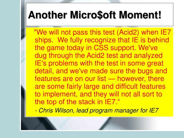 Another Micro$oft Moment!