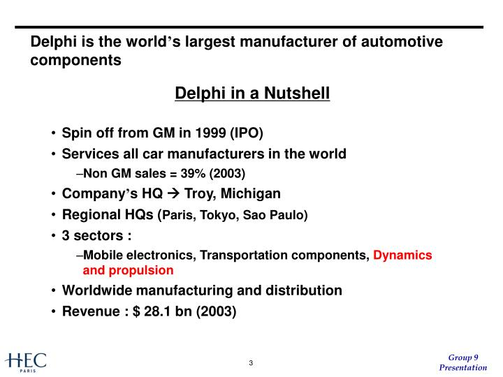 Delphi is the world s largest manufacturer of automotive components