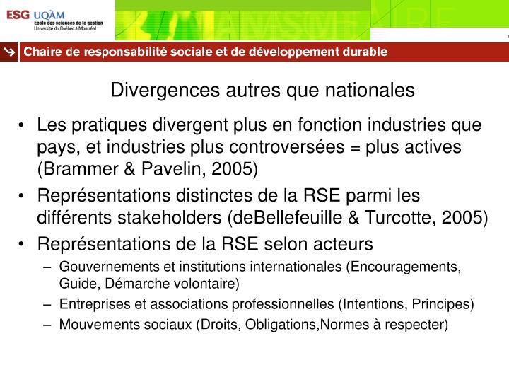 Divergences autres que nationales