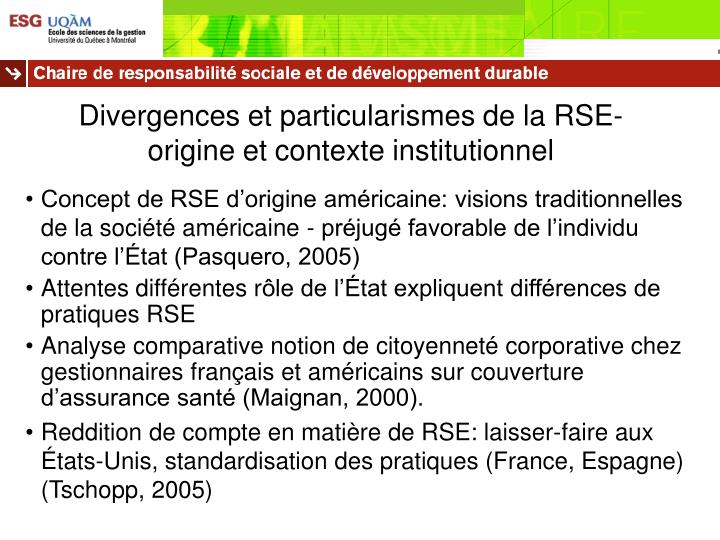 Divergences et particularismes de la RSE- origine et contexte institutionnel