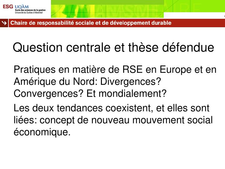 Question centrale et th se d fendue