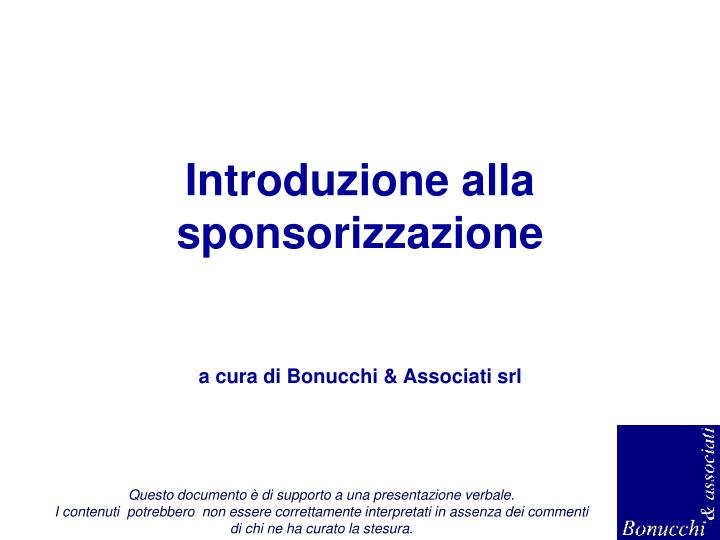 Introduzione alla sponsorizzazione