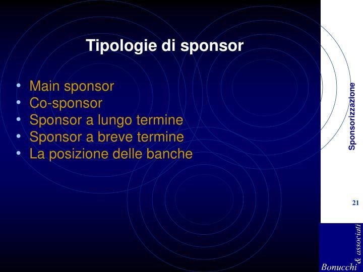 Tipologie di sponsor