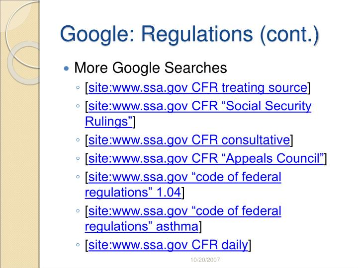 Google: Regulations (cont.)