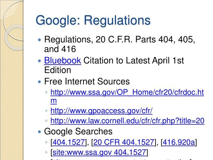 Google: Regulations