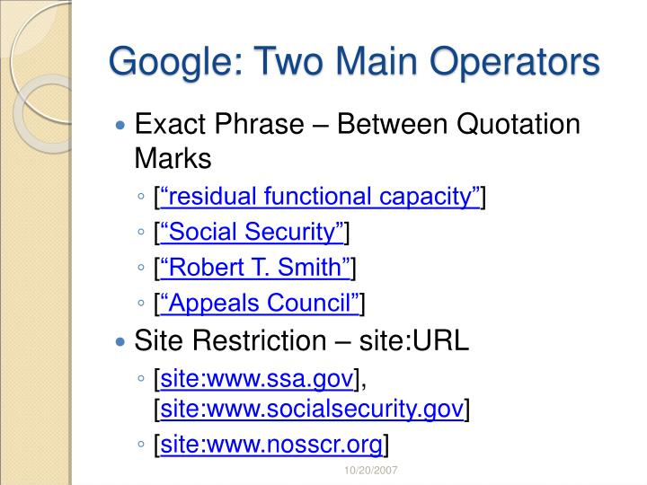 Google two main operators