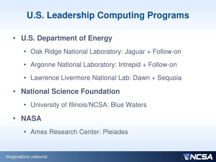 U.S. Leadership Computing Programs