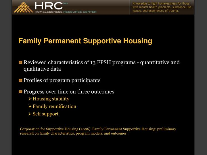Family Permanent Supportive Housing