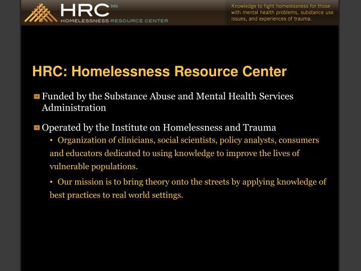 HRC: Homelessness Resource Center