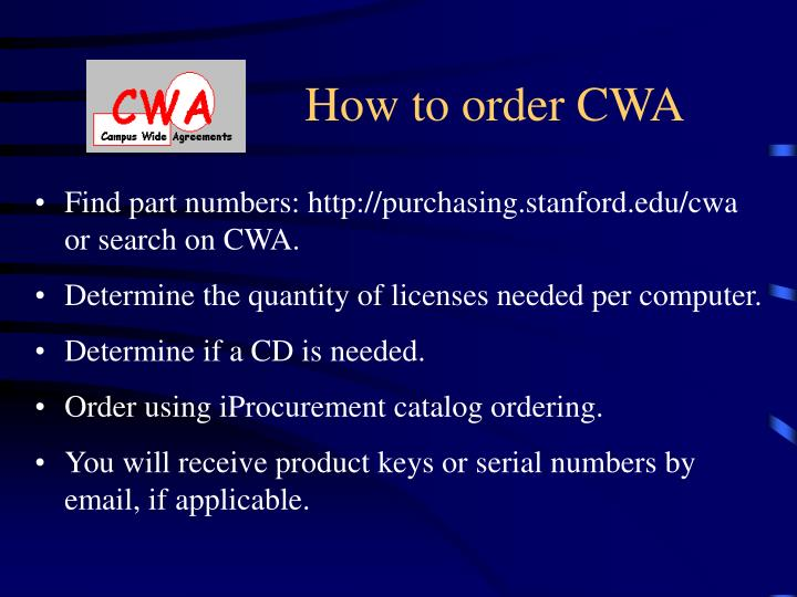 How to order CWA