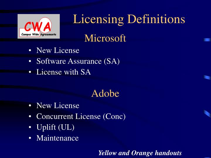 Licensing Definitions