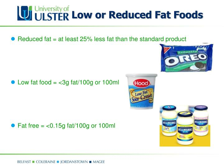 Low or Reduced Fat Foods