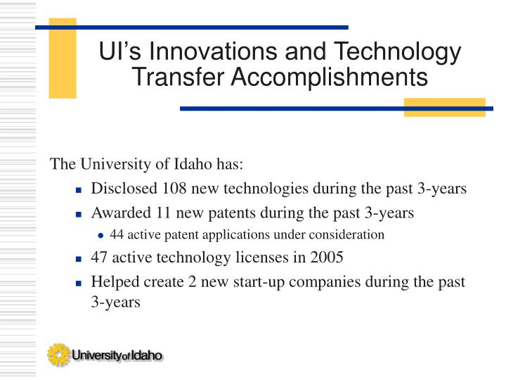 UI's Innovations and Technology Transfer Accomplishments