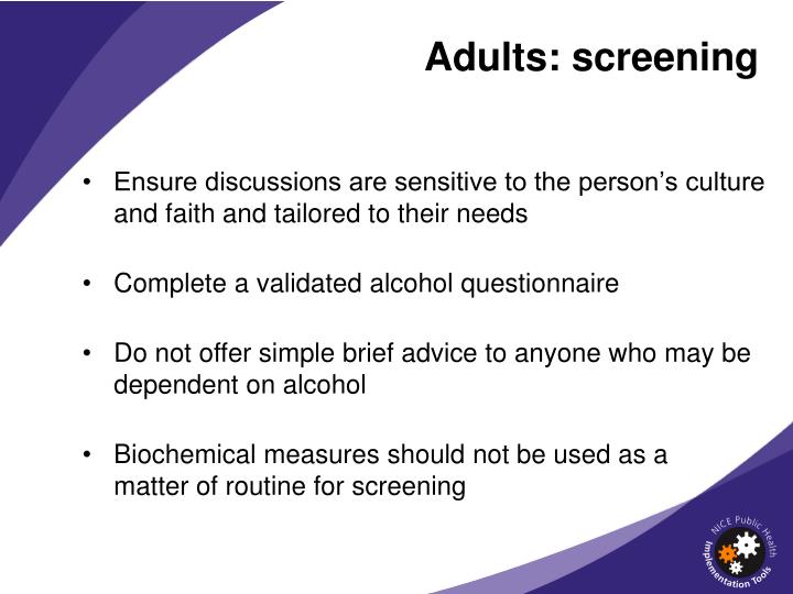 Adults: screening