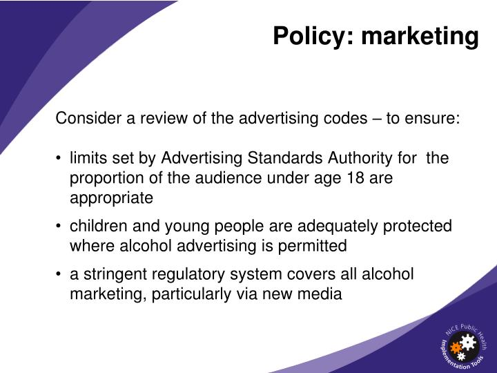 Policy: marketing