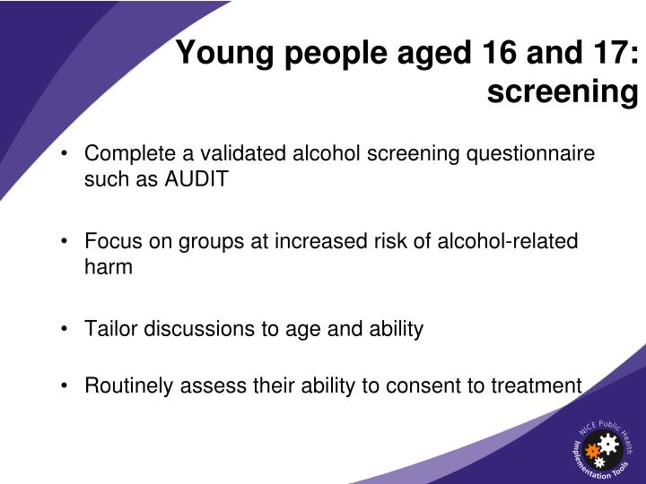 Young people aged 16 and 17: screening