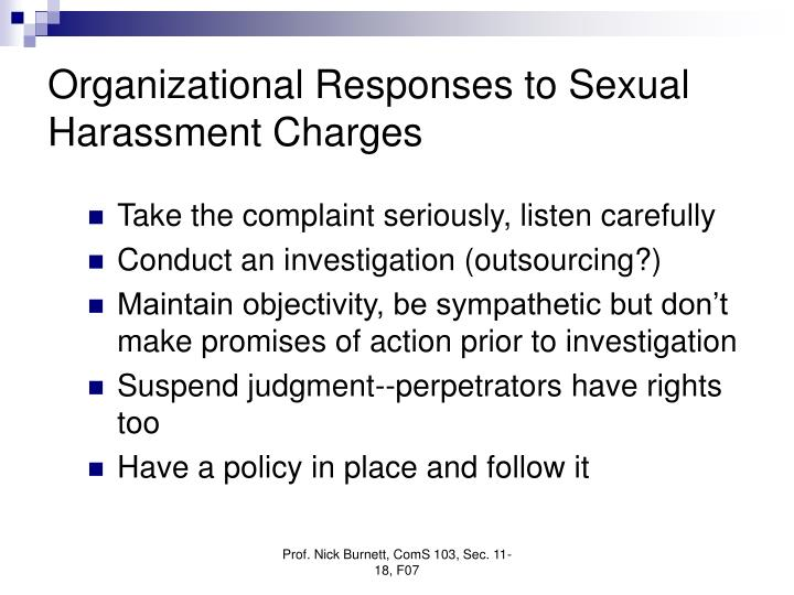 Organizational Responses to Sexual Harassment Charges