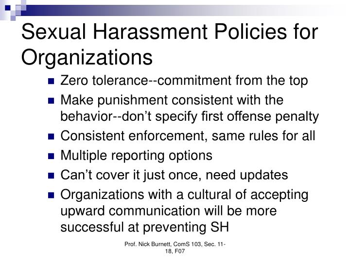 Sexual Harassment Policies for Organizations
