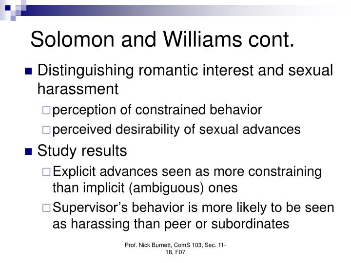 Solomon and Williams cont.