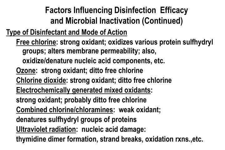 Factors Influencing Disinfection  Efficacy