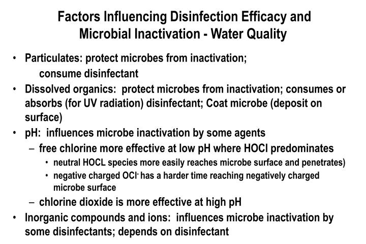 Factors Influencing Disinfection Efficacy and Microbial Inactivation - Water Quality