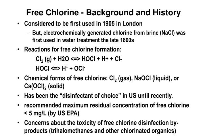 Free Chlorine - Background and History