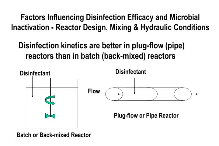 Factors Influencing Disinfection Efficacy and Microbial Inactivation - Reactor Design, Mixing & Hydraulic Conditions