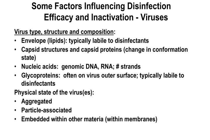 Some Factors Influencing Disinfection