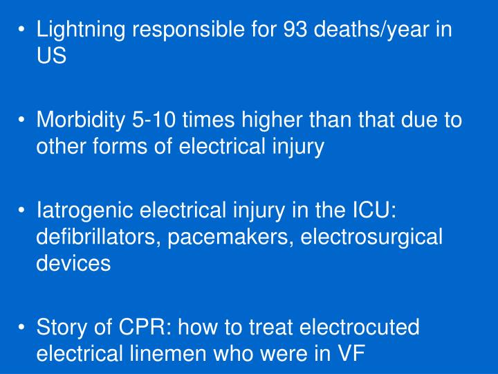 Lightning responsible for 93 deaths/year in US