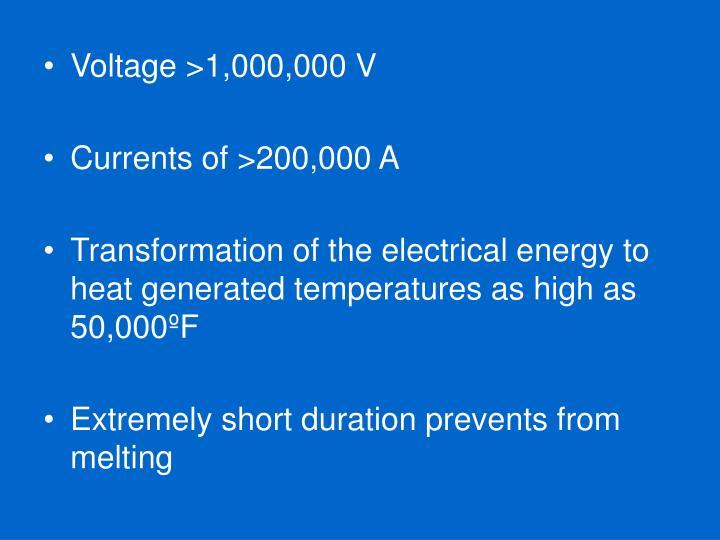 Voltage >1,000,000 V