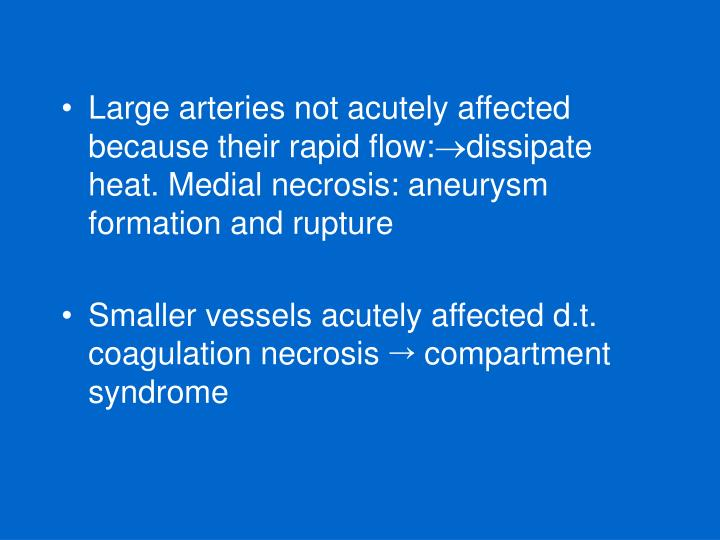 Large arteries not acutely affected because their rapid flow: