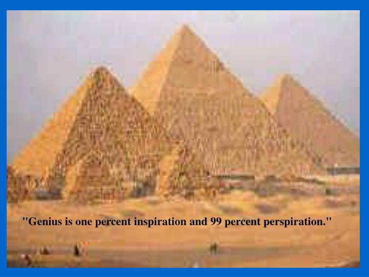 """Genius is one percent inspiration and 99 percent perspiration."""