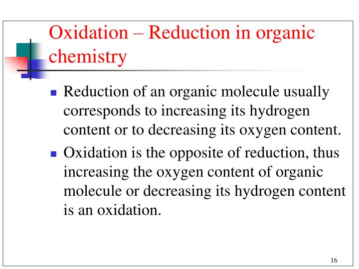 Oxidation – Reduction in organic chemistry