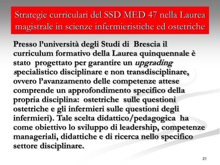 Strategie curriculari del SSD MED 47 nella Laurea magistrale in scienze infermieristiche ed ostetriche