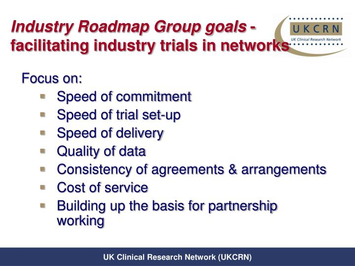 Industry Roadmap Group goals