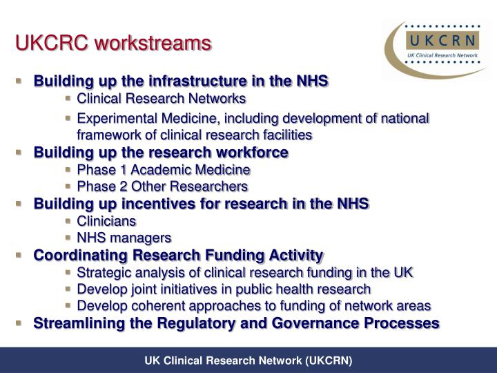 UKCRC workstreams