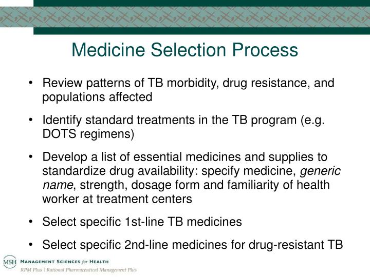 Medicine Selection Process