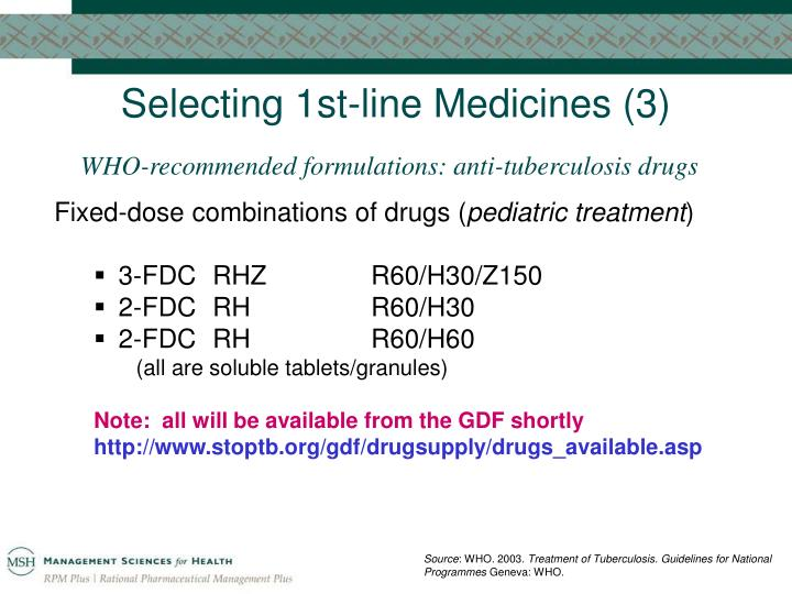Selecting 1st-line Medicines (3)