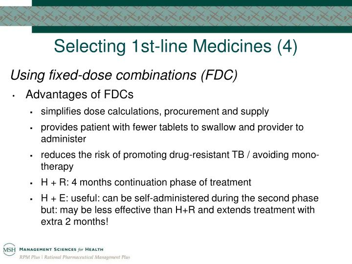 Selecting 1st-line Medicines (4)