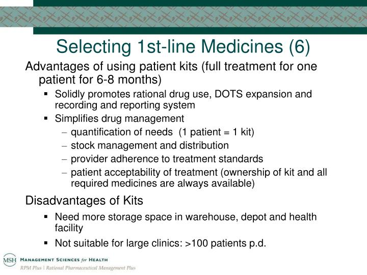 Selecting 1st-line Medicines (6)