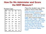 how do we administer and score the nwf measure3