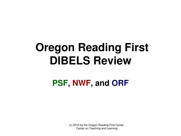 Oregon Reading First