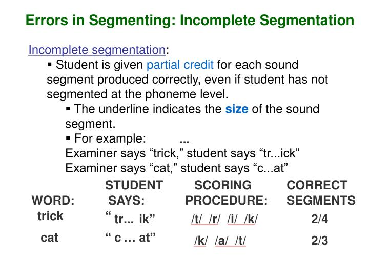 Errors in Segmenting: Incomplete Segmentation