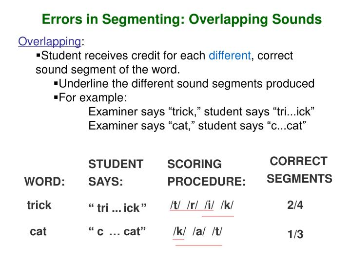 Errors in Segmenting: Overlapping Sounds