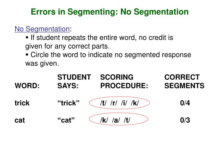 Errors in Segmenting: No Segmentation