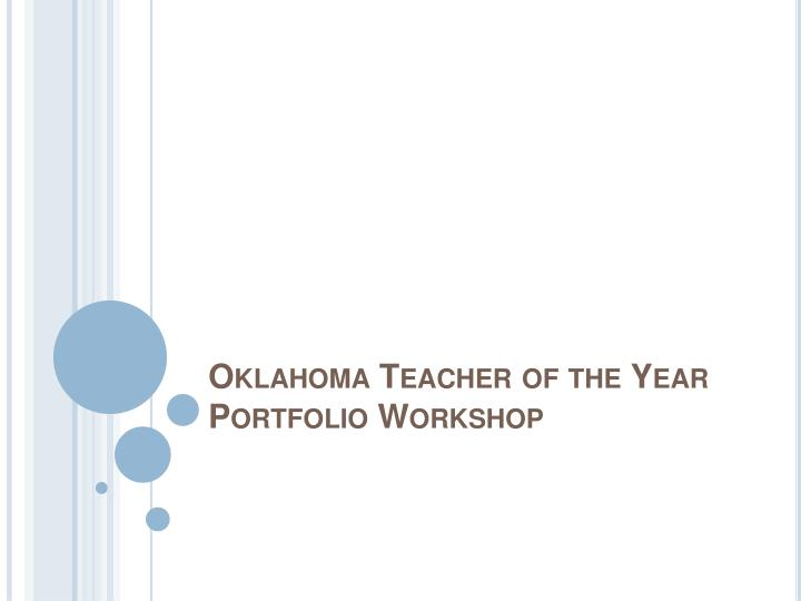 Oklahoma teacher of the year portfolio workshop