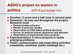asdo s project on women in politics esf equal budget line