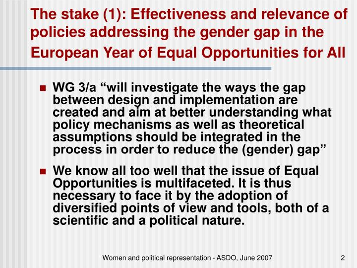 The stake (1): Effectiveness and relevance of policies addressing the gender gap in the European Year of Equal Opportunities for All